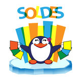 Penguin που αγωνίζεται με saldes Στοκ Εικόνες