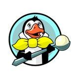 Penguin στον κίτρινο δεσμό τόξων με το παγωτό ελεύθερη απεικόνιση δικαιώματος