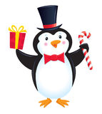 Penguin στο τοπ δεσμό καπέλων και τόξων Στοκ Φωτογραφίες