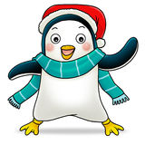 Penguin. Cartoon action icon of a penguin smiling to the reader Royalty Free Stock Images
