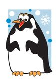 Penguin. Illustration the cheerful penguin on a background of the snow sky Stock Photos