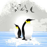 Penguin. With birds illustration vector vector illustration