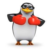 τρισδιάστατο Penguin που φορά τα εγκιβωτίζοντας γάντια Στοκ Φωτογραφίες