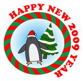 Penguin. Vector sticker: Penguin in red Santa hat wishes to all happy new year Royalty Free Stock Image