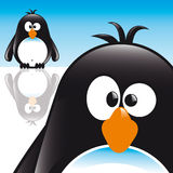 Penguin. Funny Comic Style Penguin with blue sky Royalty Free Stock Images