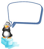 A penguin above an icecube with an empty callout. Illustration of a penguin above an icecube with an empty callout on a white background Royalty Free Stock Photos