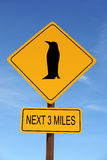 Penguin Ahead Warning Roadsign Royalty Free Stock Photos