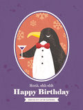 Penguin Animal Cartoon Birthday card design Stock Images