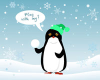 Penguin Animal in Hat and Snowball. Play with Me Royalty Free Stock Photos