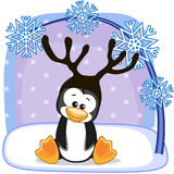 Penguin with antlers Stock Photo