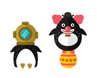 Penguin aqualung vector animal character illustration. Royalty Free Stock Image