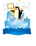 Penguin in arctic. Color drawing, vector Royalty Free Stock Images