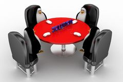 Penguin around table discussing for a solution Stock Images