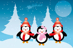 Penguin babies at Christmas. In front of snowy forest and moon , Santa Claus in his sleigh - Christmas card with place for text available as eps and jpg file Royalty Free Stock Image