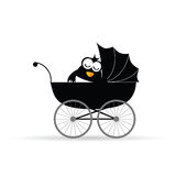 Penguin in a baby stroller vector Stock Images