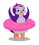 Penguin ballerina color indigo Royalty Free Stock Photo