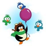Penguin on balloon Royalty Free Stock Image