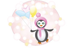 Penguin with balloons Royalty Free Stock Photos