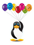 Penguin with balloons. Penguin with colorful balloons and letters Stock Photos