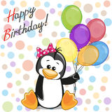 Penguin with balloons Stock Image