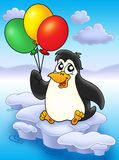 Penguin with balloons on iceberg. Color illustration Stock Photos