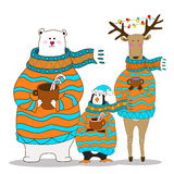 Penguin with bear and deer. Christmas vector. Penguin, bear and deer wearing scarf and pullover Christmas hat. vector Royalty Free Stock Photos