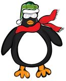 Penguin Big Cool Scarf Cap. A well fed penguin ready to hit the snow. The nice scarf and nit Santa hat really bring this penguins wardrobe to life Royalty Free Stock Photography