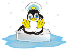 Penguin in big marine hat sitting on the ice. Penguin boy in blue and white marine hat lying on the ice and it's snow aroun him royalty free illustration