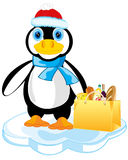 Penguin on block of ice. Cartoon of the penguin with product and in hat on block of ice Stock Image