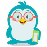 Penguin with book character vector. Collection stock stock illustration