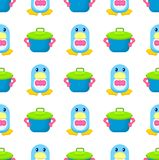 Penguin in Bowtie and Toy Pot Seamless Pattern. Adorable blue toy penguin in pink bowtie and cartoon pot seamless pattern vector illustration on white background Stock Photography