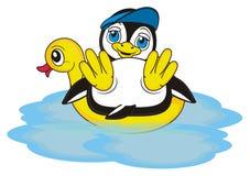 Penguin boy in blue cap swimming Stock Images