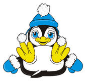 Penguin boy in blue  clothes Stock Photography