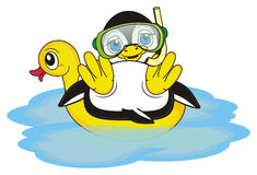 Penguin boy diver ready to diving. Penguin boy in mask for diving sitting on the inflated duck stock illustration