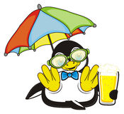 Penguin boy hold a beer Stock Photos