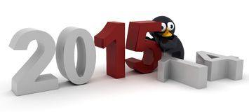 Penguin Bringing in the New Year. 3D Render of a penguin celebrating new years Stock Image