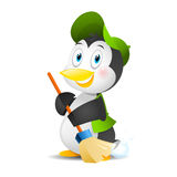 Penguin with a broom Royalty Free Stock Images