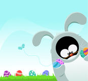 Penguin with Bunny Costume Stock Image