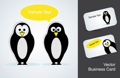 Penguin and a business card Stock Photos