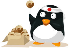 Penguin carrying flag Stock Image