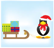 Penguin carrying gifts. Christmas cards and gifts with a penguin Stock Photo