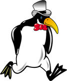 Penguin Cartoon. High contrast line art drawing and Royalty Free Stock Photography
