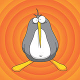 Penguin cartoon. Gray penguin cartoon or illustration on an orange colored background royalty free illustration