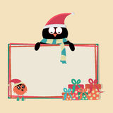 Penguin cartoon with blank board for Merry Christmas. Cartoon of a penguin in Santa cap with blank board for your text, love bird in Santa cap and gift boxes on Stock Photography