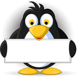 Penguin cartoon with blank sign Royalty Free Stock Photo