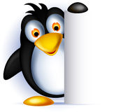 Penguin cartoon with blank sign Royalty Free Stock Photography