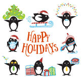 Penguin  cartoon character. Penguin characters with hand drawn clothes and objects, presents, winter holidays Royalty Free Stock Photo
