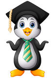 Penguin cartoon with graduation cap and striped tie Stock Photography