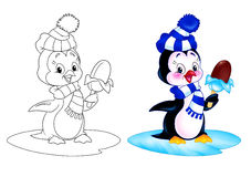 Penguin cartoon ice cream. Penguin  of eating ice cream while standing on an ice floe cartoon illustration coloring page Stock Photography