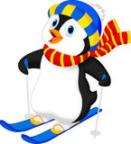 Penguin cartoon skiing Royalty Free Stock Photography